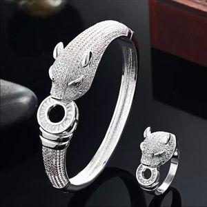 Jewelry - Preview! Jaguar Crystal Bangle Bracelet & Ring Set
